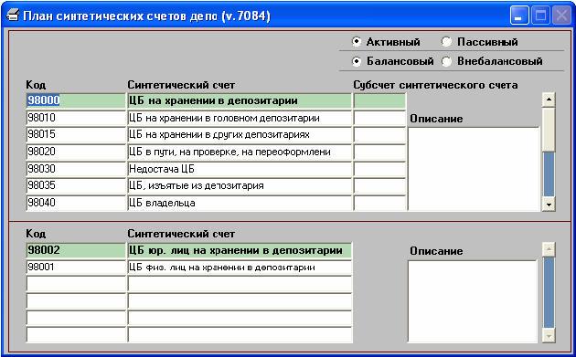 План синтетеческих счетов депо согласно инструкции 44 ЦБ